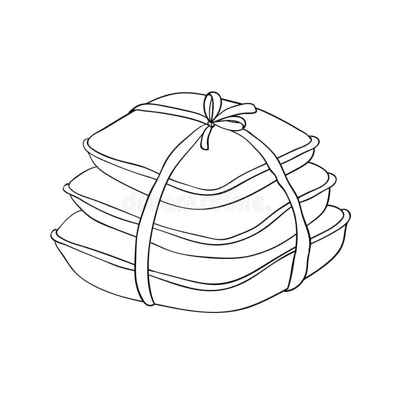 oreillers Objets d'isolement sur un fond blanc illustration de vecteur
