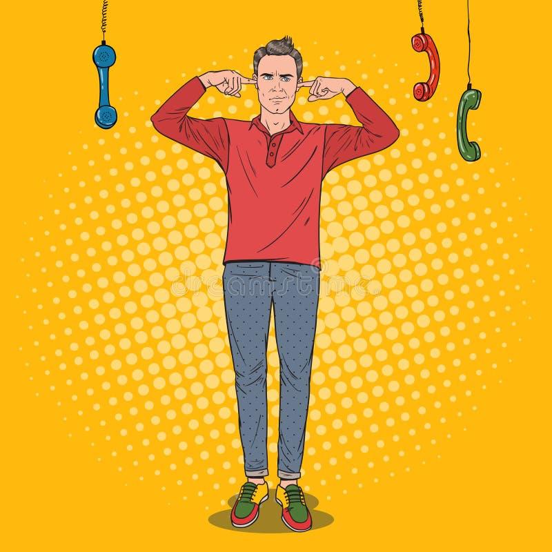 Oreilles d'Art Overworked Frustrated Man Closed de bruit avec des doigts des téléphones ennuyeux Travail de bureau multitâche illustration stock