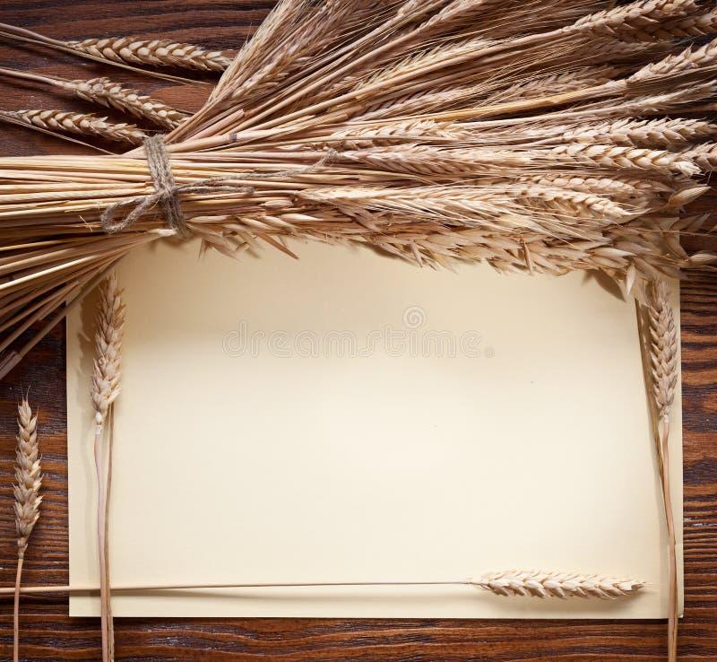 Oreilles de blé sur le vieux bois. photos libres de droits