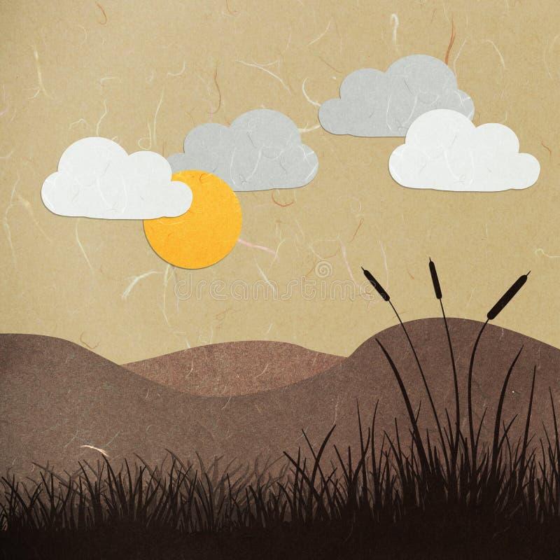 Oreilles de coupure de papier de riz sur un coucher du soleil illustration stock