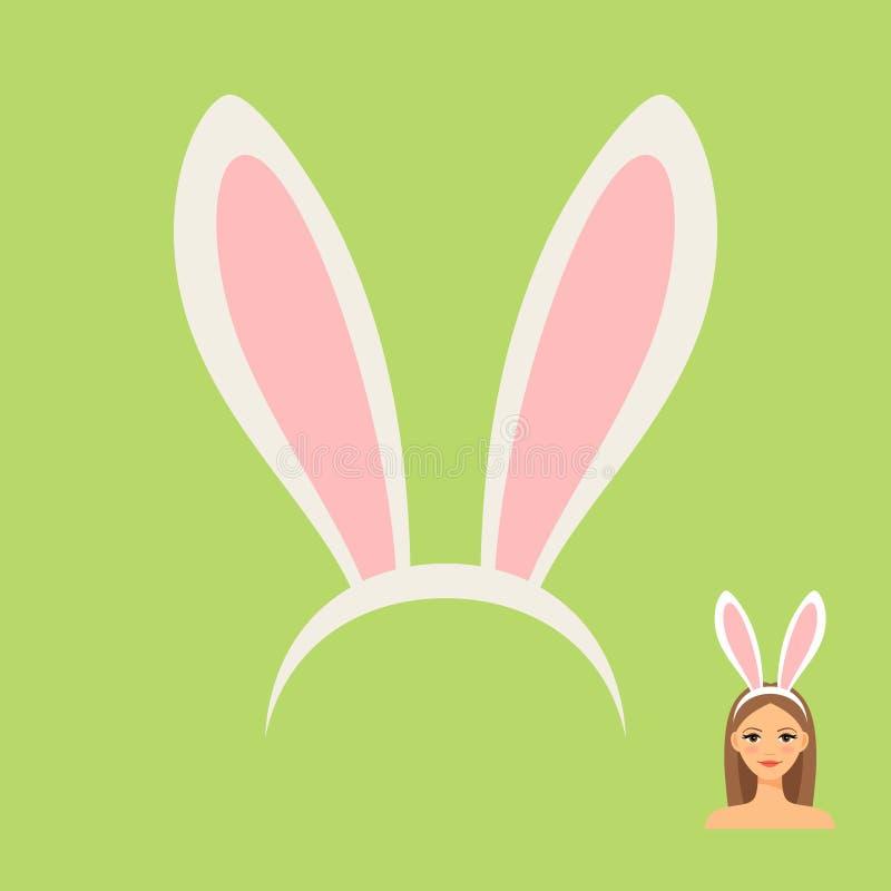 Oreilles de lapin accessoire et fille principaux illustration libre de droits