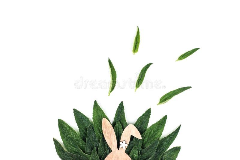 Oreilles de lapin sur le fond vert de feuilles images libres de droits