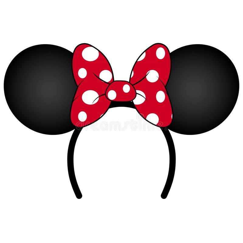 Oreilles de souris parfaites avec le bandeau rouge d'arc pour la fête d'anniversaire ou la célébration illustration libre de droits