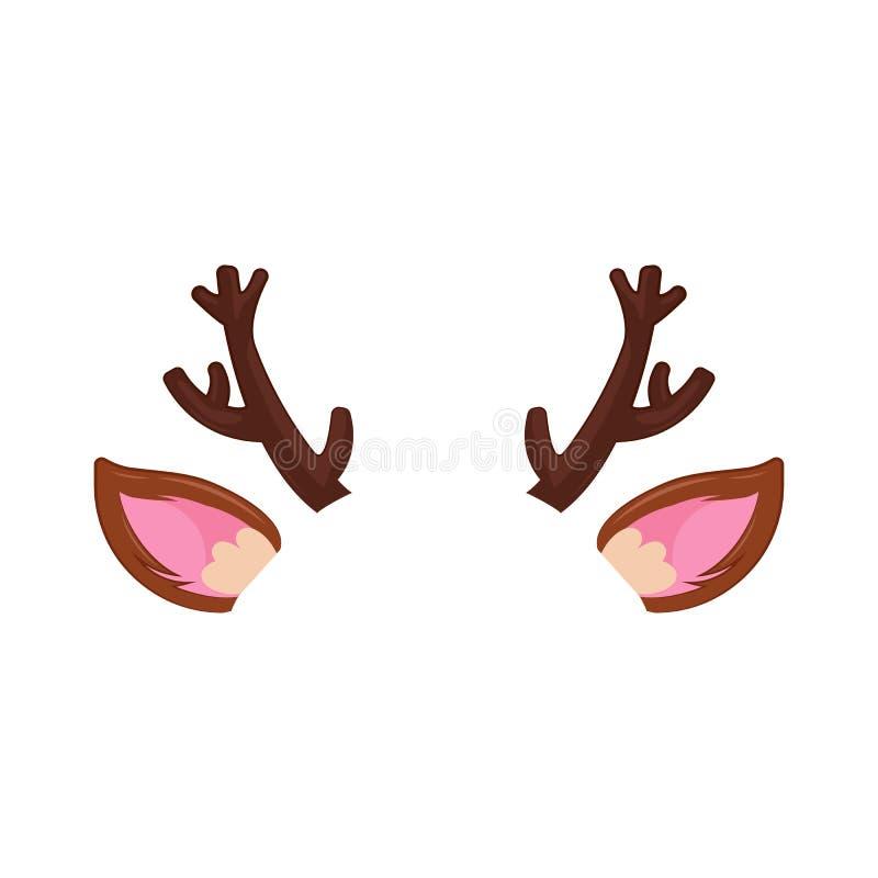 Oreilles et klaxons d'un masque des cerfs communs de nouvelle année Chapeau de chrismas de carnaval sur le visage illustration de vecteur