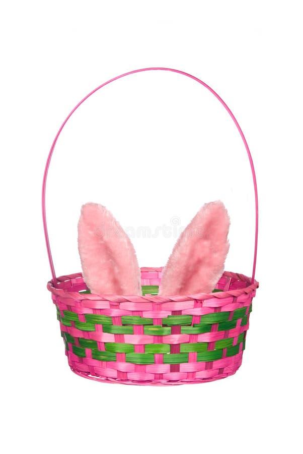 oreilles Pâques de lapin de panier images libres de droits