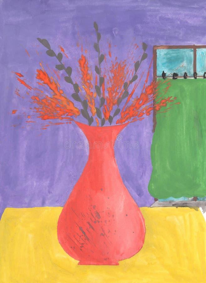 Oreilles sauvages d'aquarelle dans le vase illustration libre de droits