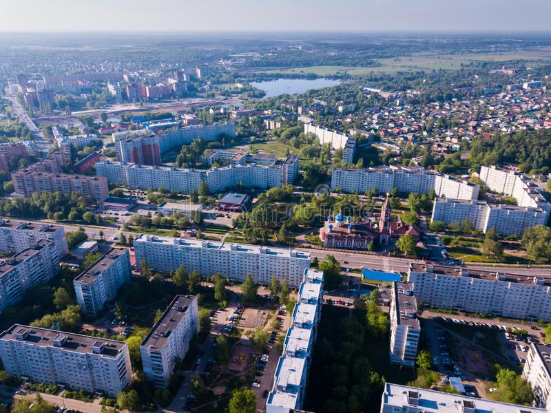Orekhovo-Zuyevo cityscape from drone royalty free stock photos