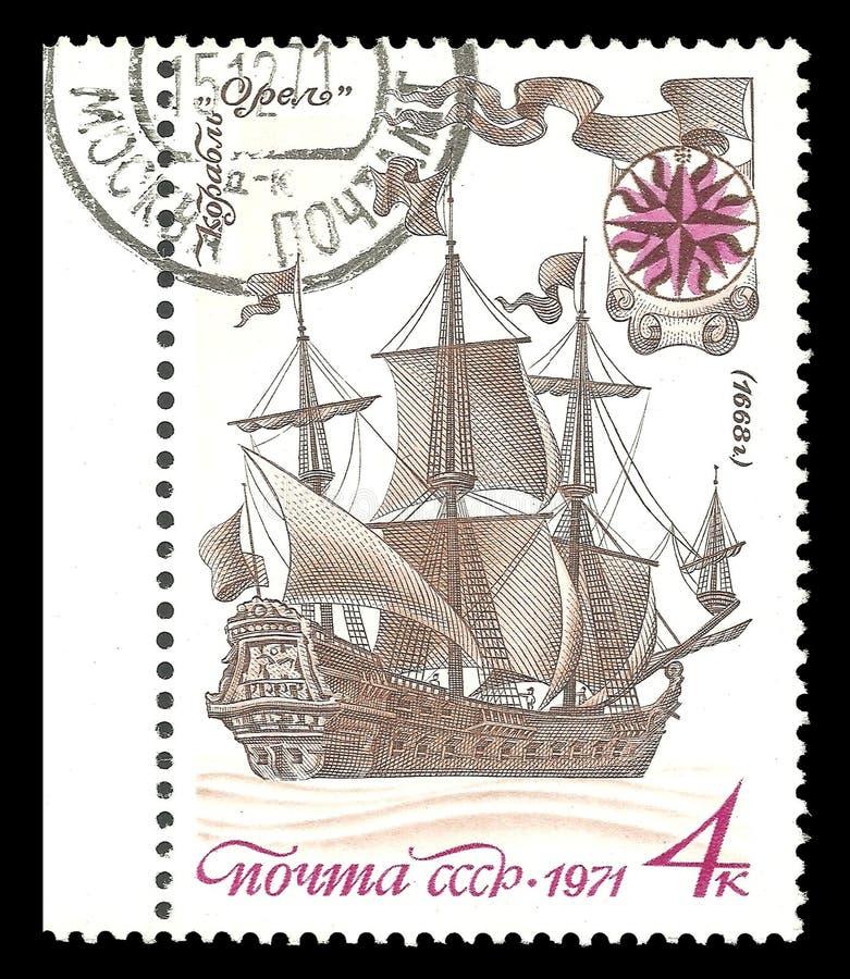 Orel żeglowania pierwszy Rosyjski statek zdjęcia royalty free