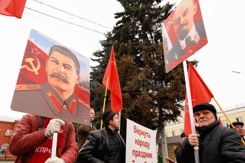 Orel, Rusia, el 7 de noviembre de 2017: Aniversario m de la revolución de octubre imagenes de archivo