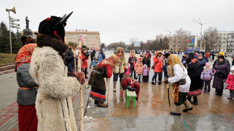 Orel, Rusland, 6 Januari, 2018: Koliada, Russisch de winterfestival stock afbeeldingen