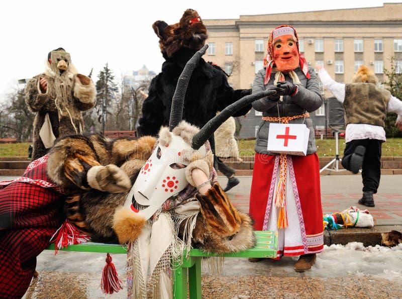 Orel, Rusland, 6 Januari, 2018: Koliada, Russisch de winterfestival stock afbeelding