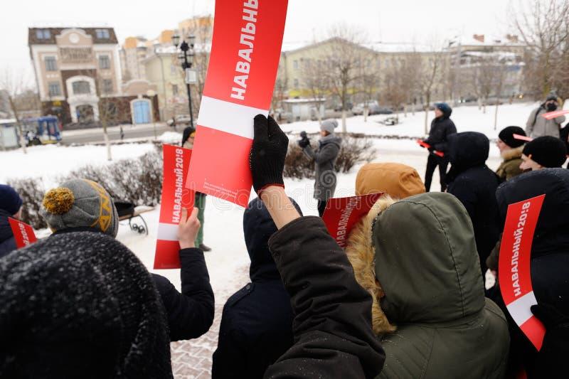 Orel, Rusland, 28 Januari, 2018: Verkiezingsprotest ondersteunend Alex royalty-vrije stock foto's