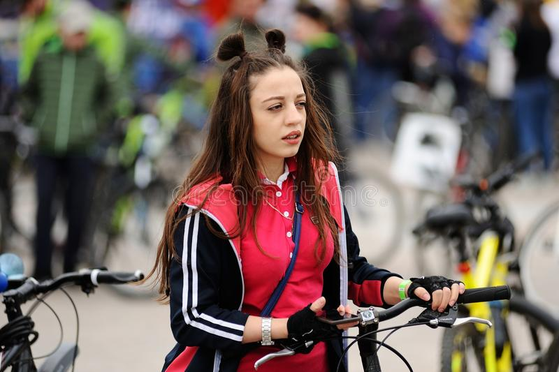 Orel, Russia - May 28, 2017: Bikeday. Young girl bicyclist stock photography