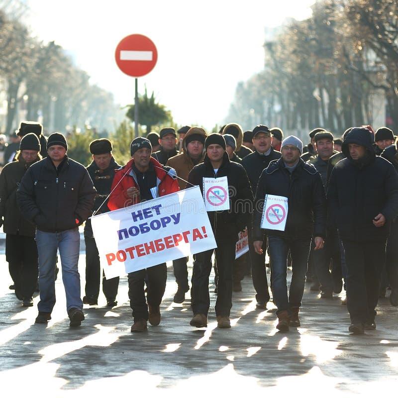 Orel, Russia - 29 novembre 2015: Protesta russa degli autisti di camion fotografie stock libere da diritti