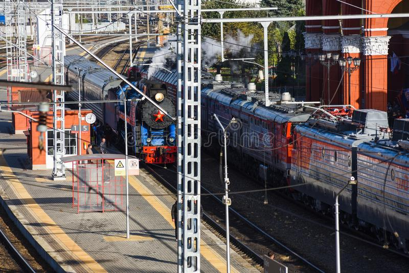 Orel, Russia, September 28, 2018: Railway station in Orel, Russia. Modern and vintage trains royalty free stock photography