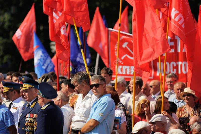 Orel, Russie - 5 août 2015 : combattants avec des médailles et la COMM. image stock