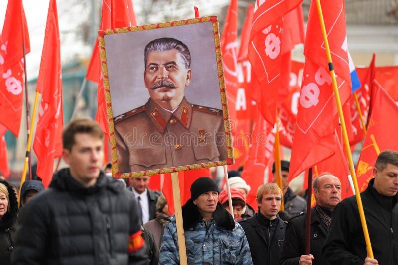 Orel Ryssland - November 7, 2015: Kommunistpartimöte stalin royaltyfria bilder