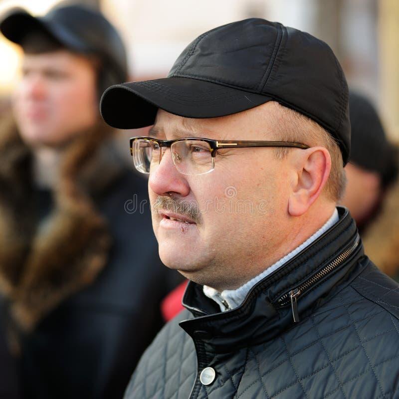 Orel Ryssland - November 29, 2015: Rysk lastbilsförareprotest royaltyfria foton