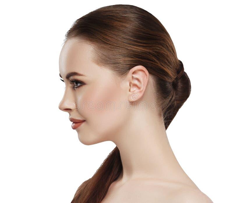 Orelha do pescoço da cara da pele da beleza da mulher do perfil foto de stock