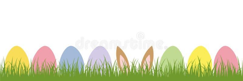 Orelhas da lebre no prado entre ovos da páscoa coloridos ilustração do vetor