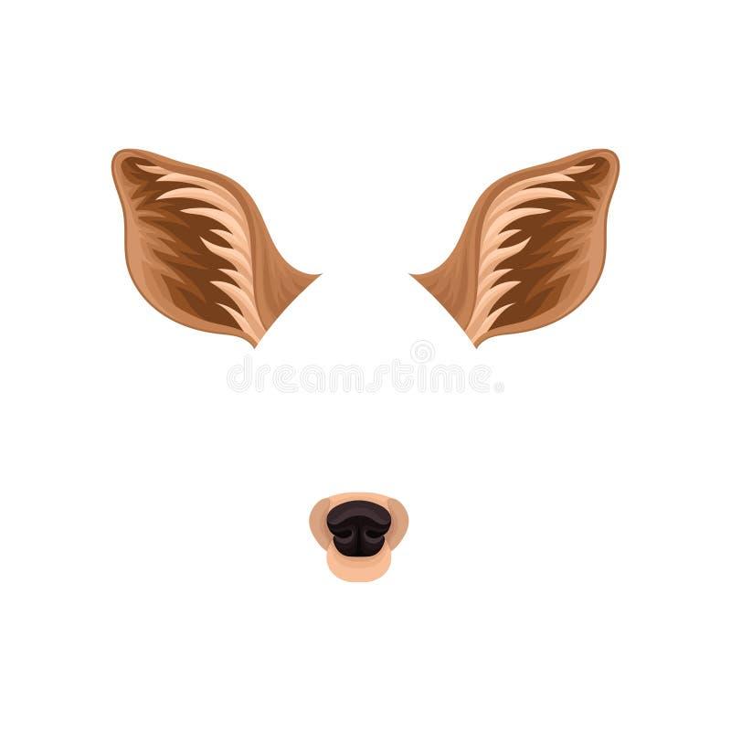 Orelhas de Brown e nariz preto de cervos pequenos Máscara animal para o carnaval Projeto liso detalhado do vetor para o mensageir ilustração do vetor