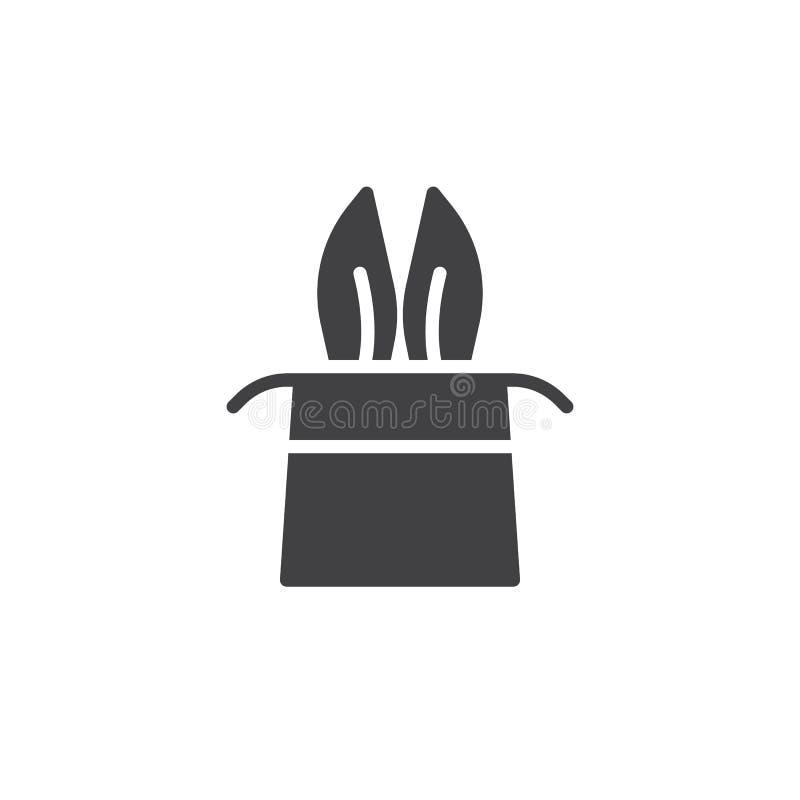 Orelhas de coelho do mágico em um vetor mágico do ícone do chapéu ilustração royalty free
