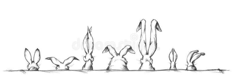 Orelhas de coelho em formas e em tamanhos diferentes ilustração do vetor