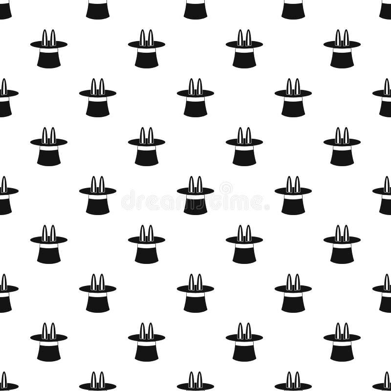 Orelhas de coelho que aparecem do teste padrão mágico do chapéu ilustração do vetor