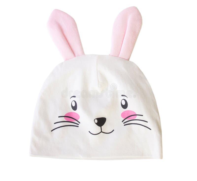 Orelhas do coelho do chapéu do bebê isoladas imagens de stock