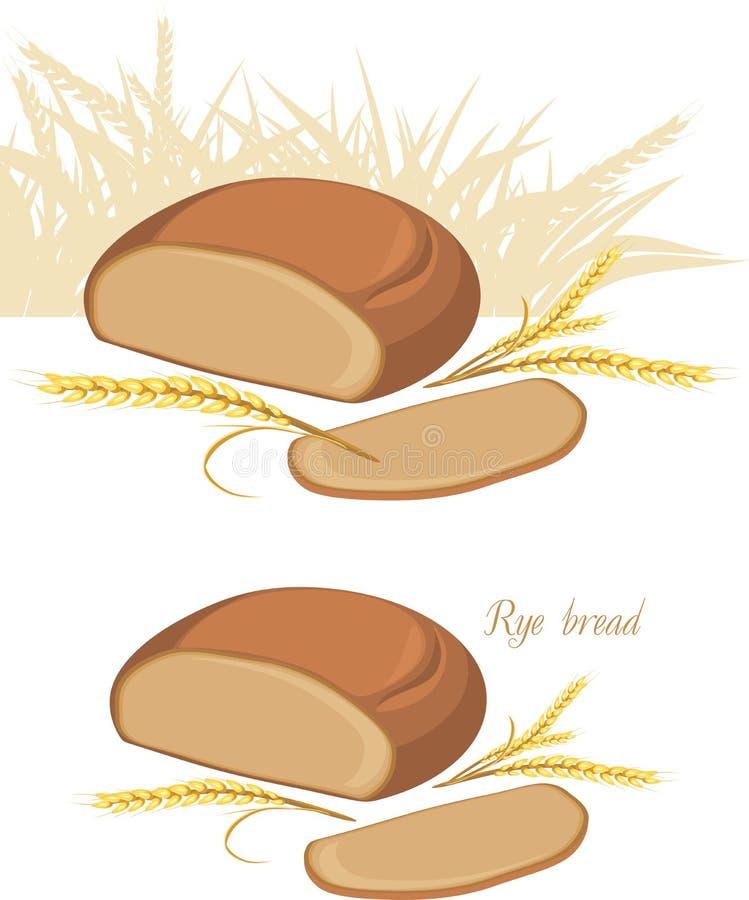 Orelhas do pão e do trigo de Rye ilustração do vetor