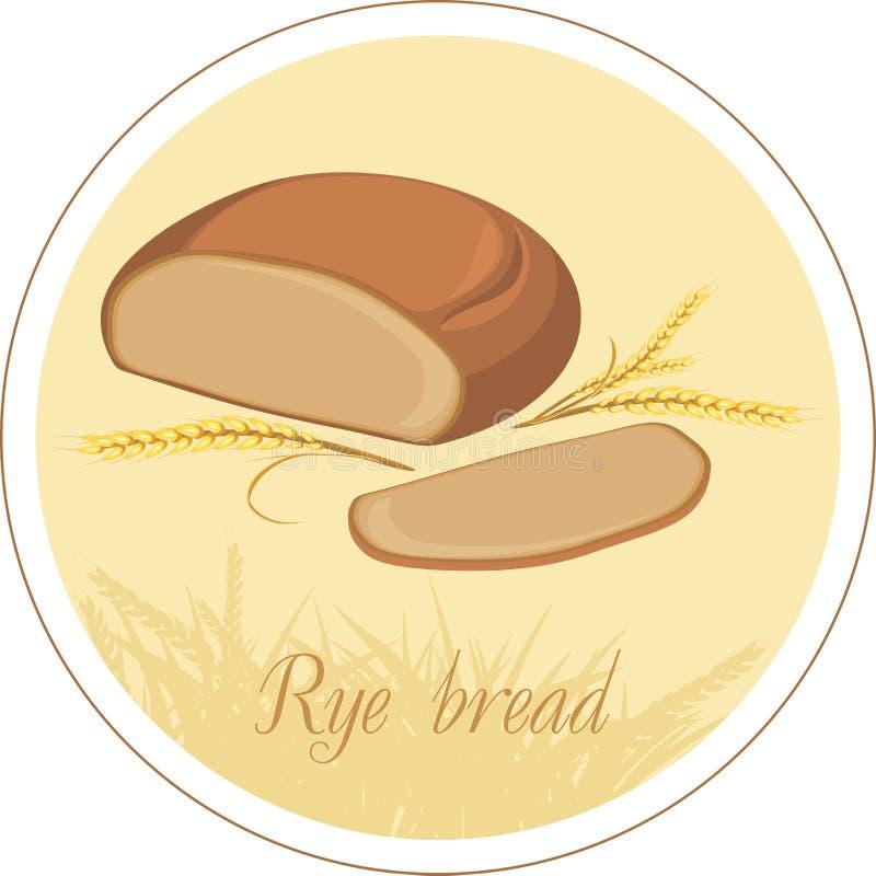 Orelhas do pão e do trigo de Rye. Etiqueta ilustração do vetor