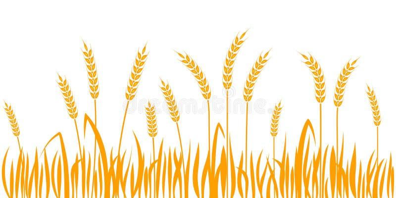 Orelhas do teste padrão sem emenda da beira horizontal do trigo ilustração do vetor