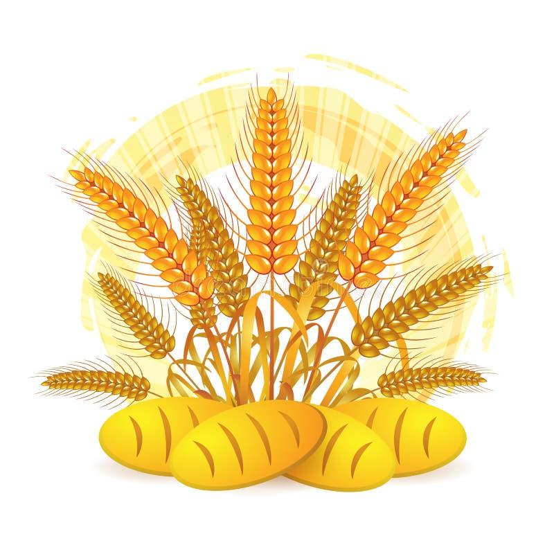 Orelhas do trigo com pão ilustração do vetor
