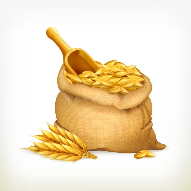 Orelhas e saco do trigo, ilustração do vetor ilustração royalty free
