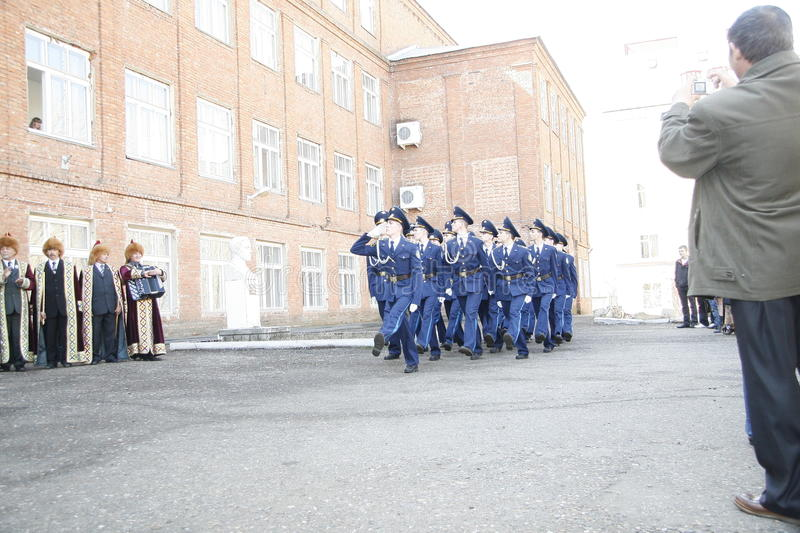 Orenburg. Cadets march. 2010. On a background - Bashkirs in national clothes stock photography
