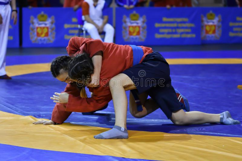 Orenburg, Russia - February 16, 2019: girls competitions Sambo stock images