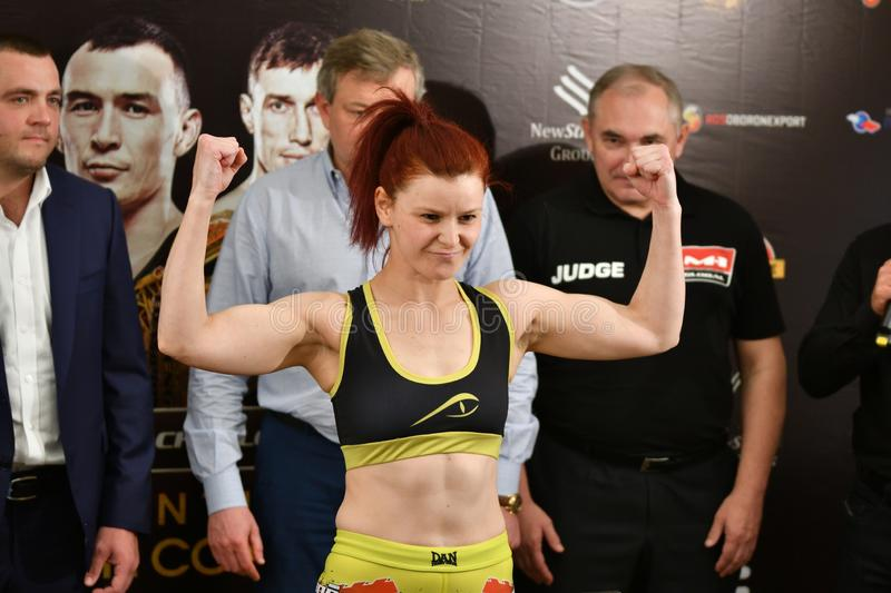 Orenburg, Russia - June 14, 2018 year: Official weigh-in fighters mixed martial arts. M-1 Challenge 94 at tournament `The battle in the heart of the continent royalty free stock photos