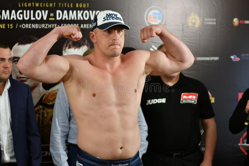 Orenburg, Russia - June 14, 2018 year: Official weigh-in fighters mixed martial arts. M-1 Challenge 94 at tournament `The battle in the heart of the continent stock image