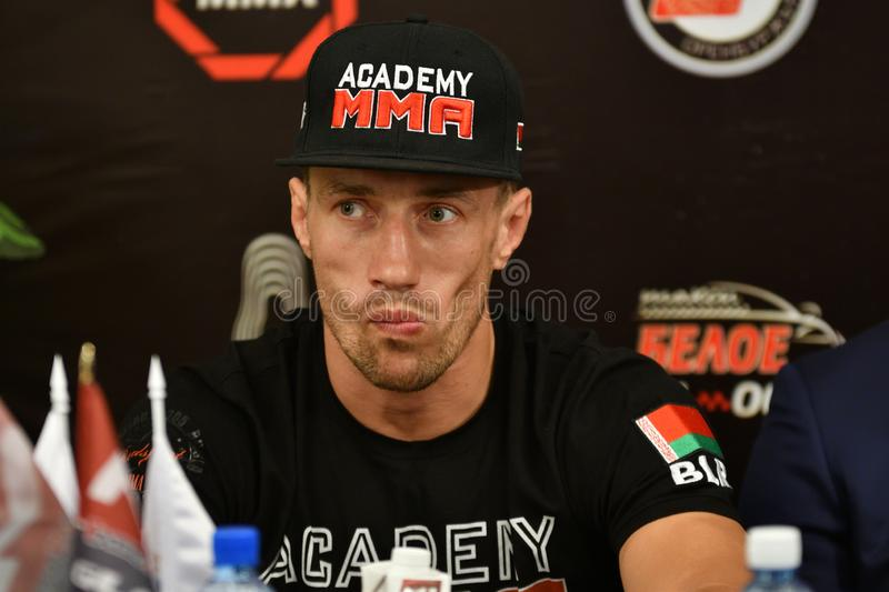 Orenburg, Russia - June 14, 2018 year: Official weigh-in fighters mixed martial arts stock photos