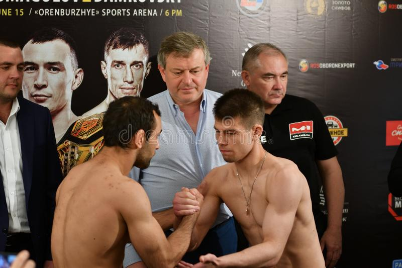 Orenburg, Russia - June 14, 2018 year: Official weigh-in fighters mixed martial arts. M-1 Challenge 94 at tournament `The battle in the heart of the continent stock photography