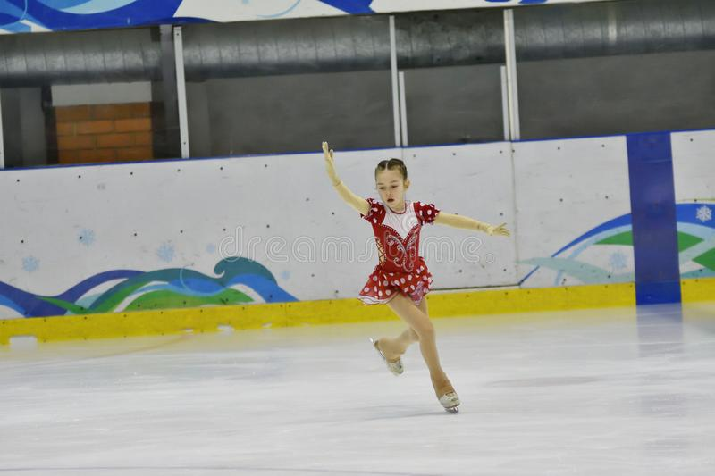 Orenburg, Russia - March 31, 2018 year: Girls compete in figure skating royalty free stock photography
