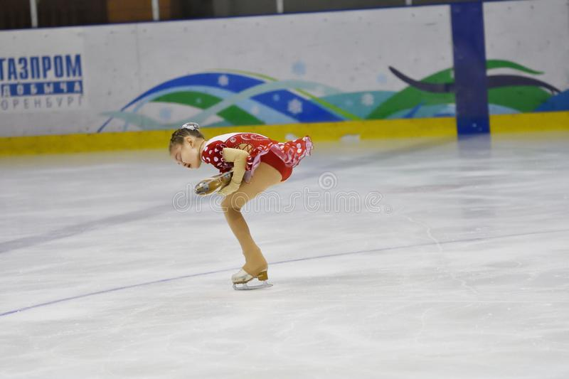 Orenburg, Russia - March 31, 2018 year: Girls compete in figure skating stock images