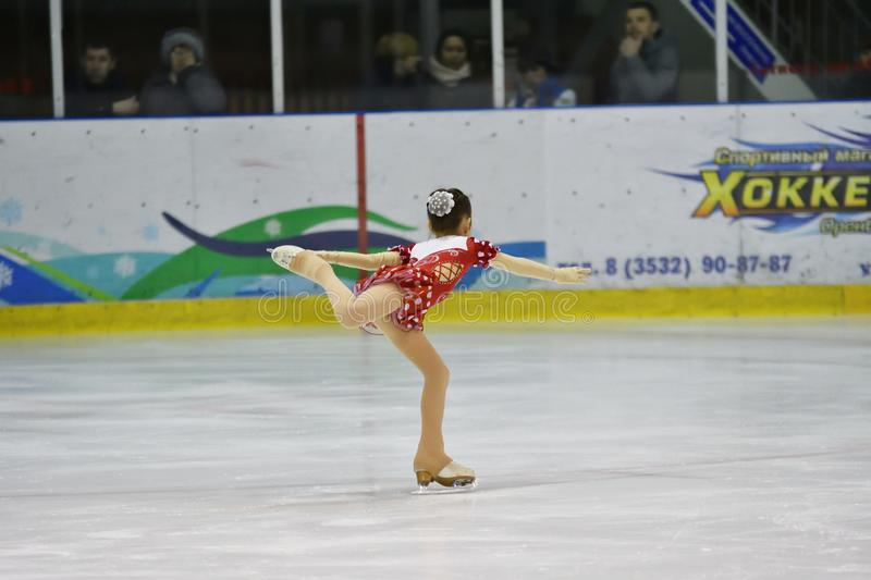 Orenburg, Russia - March 31, 2018 year: Girls compete in figure skating stock photo