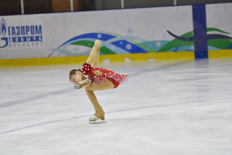 Orenburg, Russia - March 31, 2018 year: Girls compete in figure skating stock image
