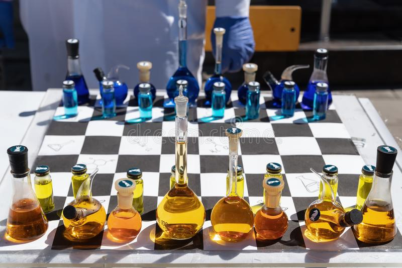 Chemical chess royalty free stock images