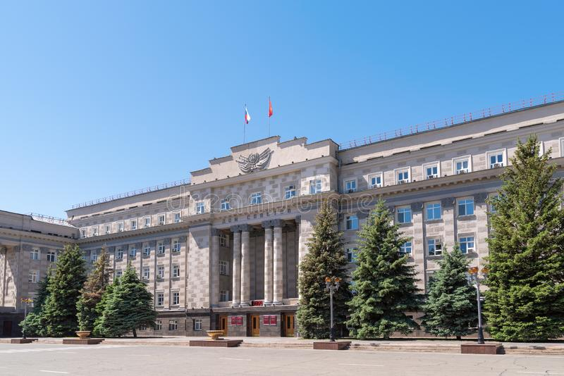 Administration building. Orenburg, Russia - May 25, 2019: House of Soviets. Administration building of the Orenburg region. Main facade stock images