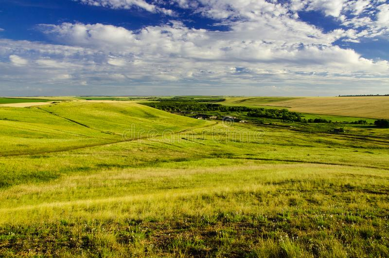 Orenburg steppes. A small village in the Orenburg steppes stock photography