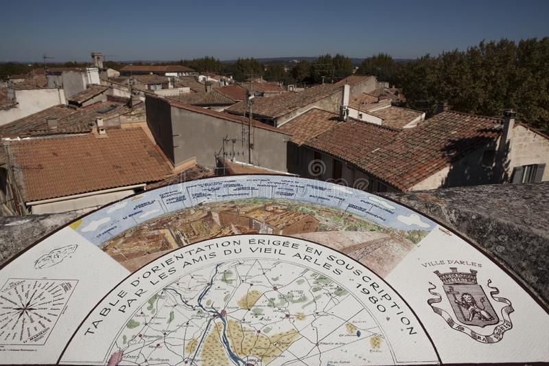Orientation Table in the old centre of Arles in France. Orientation map on a stone table above the old town of Arles, Provence, France. Arles is a UNESCO World royalty free stock photos
