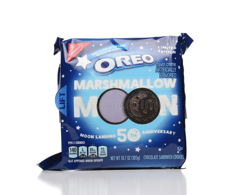 Oreo Marshmallow Moon from Nabisco, a limited edition release to celebrate the 50th anniversary of the moon landing. IRVINE, CALIFORNIA - JUNE 28, 2019: Oreo stock photo