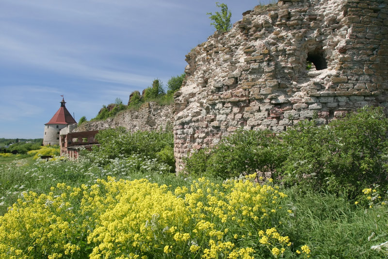 Oreshek castle. Middle Ages ruins, Russia, near Saint-Petersburg stock photography